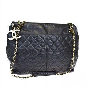 Authentic CHANEL black leather shoulder bag